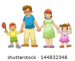 my family holding hands vector... | Shutterstock .eps vector #144832348