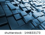 blue metal cubes with back... | Shutterstock . vector #144833173