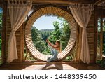 Woman In Tropical Open Yoga...