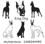 Stock vector great dane set collection of pedigree dogs black white illustration of a great dane dog vector 1448344490