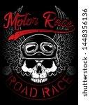 vintage biker skull emblem tee...   Shutterstock . vector #1448356136