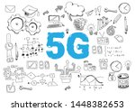 5g network or mobile speed as... | Shutterstock .eps vector #1448382653