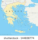 Greece Political Map. Hand drawn map of Greece with the capital Athens, national borders, most important cities, rivers and lakes. With english labeling and scale.