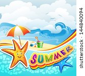 summer beach with starfish and... | Shutterstock .eps vector #144840094
