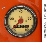 A Vintage Speedometer On A Red...