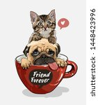 Stock vector pug dog and little kitten in red coffee cup illustration 1448423996