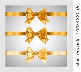set of three realistic golden... | Shutterstock .eps vector #1448433056