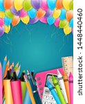 school flyer or poster with... | Shutterstock .eps vector #1448440460