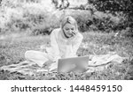 woman with laptop or notebook... | Shutterstock . vector #1448459150