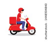 Delivery Man Riding A Red...
