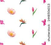 pink bauhinia purpurea. orange... | Shutterstock .eps vector #1448506013