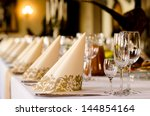 elegant table set for a catered ... | Shutterstock . vector #144854164