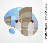 muslim pilgrims throw stones at ... | Shutterstock .eps vector #1448552819