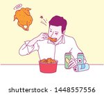 a man eating fried chicken and... | Shutterstock .eps vector #1448557556