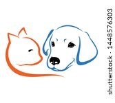 Stock vector dog and cat design line work on white background 1448576303