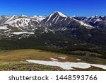 Small photo of Colorado 14er Quandary Peak and alpine landscape with snow capped peaks, Rocky Mountains, Colorado