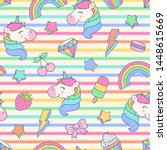 cute unicorn  dessert  rainbow... | Shutterstock .eps vector #1448615669