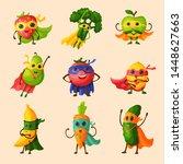 superhero fruits fruity cartoon ... | Shutterstock . vector #1448627663