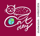 cat day hand drawn holiday... | Shutterstock .eps vector #1448631836