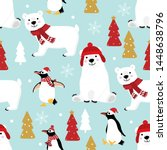 cute penguin and polar bear in... | Shutterstock .eps vector #1448638796