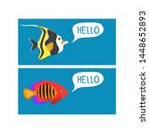 reef fishes in paper art style. ... | Shutterstock .eps vector #1448652893