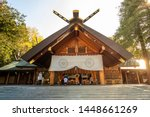 Stock photo beautiful japanese architecture of hokkaido shrine for shinto religious located in sapporo 1448661269