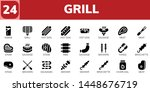 grill icon set. 24 filled grill ... | Shutterstock .eps vector #1448676719
