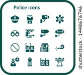 police icon set. 16 filled... | Shutterstock .eps vector #1448676746