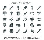 grilled icon set. 30 filled... | Shutterstock .eps vector #1448678630