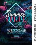 summer disco party typography... | Shutterstock .eps vector #1448682263
