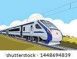 high speed passenger train in... | Shutterstock .eps vector #1448694839