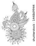 black line art ornate flower... | Shutterstock .eps vector #144869944