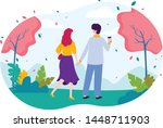 male and female walking in... | Shutterstock .eps vector #1448711903