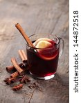 mulled wine and spices on... | Shutterstock . vector #144872518