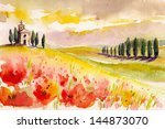 Landscape With Cypress Trees ...