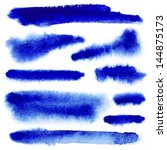 blue watercolor paint strokes... | Shutterstock . vector #144875173