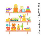 baby toy on shelf. vector. set... | Shutterstock .eps vector #1448781539