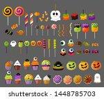 halloween sweets collection.... | Shutterstock .eps vector #1448785703