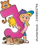 girl and pets with letter j  ...   Shutterstock .eps vector #1448803796
