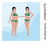 two women of different sizes in ...   Shutterstock .eps vector #1448846570