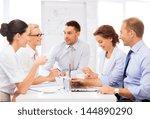 friendly business team having... | Shutterstock . vector #144890290