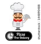 pizza label over gray... | Shutterstock .eps vector #144890488