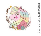 happy little pink pony with... | Shutterstock .eps vector #1448908109