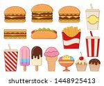 fast food icons isolated.... | Shutterstock .eps vector #1448925413