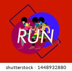 running people silhouettes ... | Shutterstock .eps vector #1448932880