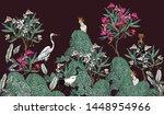 seamless border black exotic... | Shutterstock .eps vector #1448954966