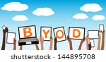 byod concept bring your own... | Shutterstock .eps vector #144895708
