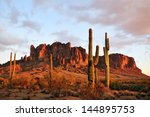 Sunset colors on Superstition Mountain