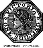 Victoria One Shilling Stamp from 1864 to 1865, vintage illustration.