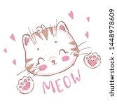 cute cartoon cat print for t... | Shutterstock .eps vector #1448978609